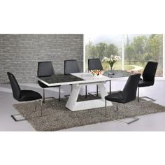 Italia Black and White High Gloss Extending Dining Table- 160cm to 220cm
