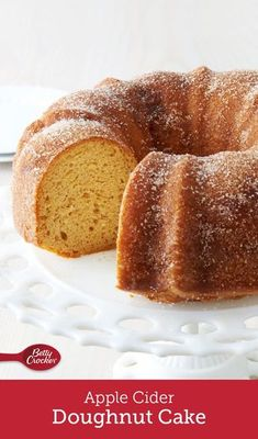 """Nothing says """"fall"""" quite like an apple cider doughnut, and with this easy bundt, you get a crowd-friendly version of everyone's favorite seasonal treat. The yellow cake batter gets an apple infusion with cider and shredded apples before being baked and f Fall Desserts, Just Desserts, Delicious Desserts, Cupcakes, Cupcake Cakes, Cake Mix Recipes, Dessert Recipes, Bread Recipes, Granny Smith"""