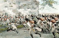 Attack of the Austrian Grenadiers at Aspern, 1809.