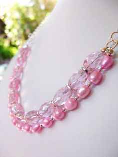 SALE Pink Pearl and Glass Beaded Sterling Silver Necklace, $28.00 by BeadedTail