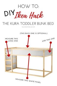 DIY Ikea Hack: KURA Toddler Bunk Bed - Much.Most.Darling. this super easy DIY Ikea Hack for the Kura Toddler Bunk Bed is such a beautiful and simple way to transform a very inexpensive piece into something a little more impactful.We had all the tools and everything here at home already. So the only thing we had to purchase was a sheet of plywood! That means the total for this DIY Ikea Kura Toddler Bunk Bed Hack was under $30!!