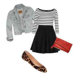 Early Fall Outfit: Striped shirt, skirt, denim jacket, flats