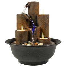 Best Choice Products Home Accent Tabletop Fountain Waterfall W/ 3 Candles And LED Lights