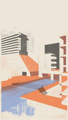 Illustrator Leonie Bos : No pool – piece from a collection of some work in progress.Dutch Illustrator Leonie Bos : No pool – piece from a collection of some work in progress. Barragan-inspired Illustrations by Charlotte Taylor Croquis Architecture, Architecture Drawing Plan, Architecture Drawing Sketchbooks, Architecture Graphics, Architecture Visualization, Landscape Architecture, Architecture Design, Architecture Diagrams, Architecture Illustrations