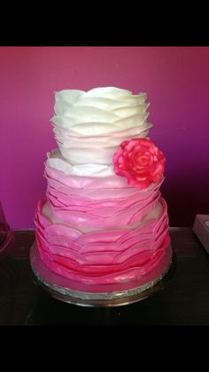 Bridal shower ombre ruffle cake ...made by above and beyond cupcakes !!