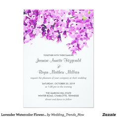 Lavender Watercolor Flowers Modern Wedding 13 Cm X 18 Cm Invitation Card