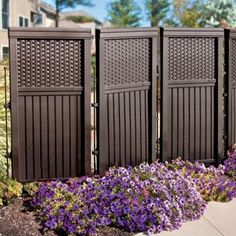 The Woven Resin Privacy Screen has the look of woven wicker on top with slatted panels below. Crafted of molded resin, this outdoor privacy screen won't rot or mildew so you can leave it out all year to hide your trashcans or provide privacy.