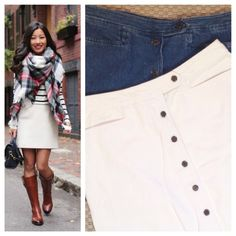 """Jean skirt - white denim Button down front skirts. White denim and denim. 100% cotton. Bugle boy collection for her. Approximately 17"""" waist laying back flat and 19.5"""" long. Skirts"""
