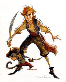 "ezekialmcadams: ""Artwork by Steve Purcell for the canceled Monkey Island animated movie that was going to be done by ILM and LucasFilm in the early The interesting thing is the writers who. Character Design Cartoon, Character Design References, 3d Character, Character Design Inspiration, Character Concept, Concept Art, Monkey Island, Character Illustration, Illustration Art"