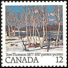 Canada Tom Thomson April in Algonquin Park stamp (SC 1977 Tom Thomson, Algonquin Park, Group Of Seven, Parks Canada, Canada Images, Love Stamps, Canadian Artists, Fauna, Stamp Collecting