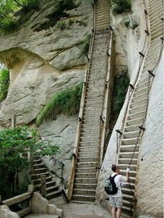 While these stairs will certainly make it easier to scale the side of Mount Hua in Shaanxi Province, China, than if there were nothing there at all, they're certainly not for the faint of heart.