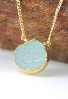 Hokulani necklace aqua green gold druzy