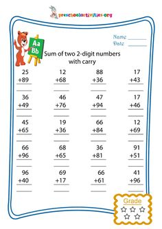 Sum of two 2-digit numbers with carry