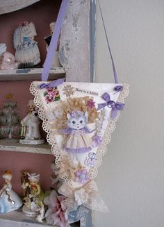 Vintage Style Lilac Whimsical Kitty Keepsake by saturdayfinds