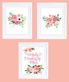 Set of 3 Prints, Fearfully and Wonderfully Made, Coral Decor, Floral Nursery Prints, Boho Floral Prints, Peony Prints, Boho Nursery Art by DuneStudio on Etsy