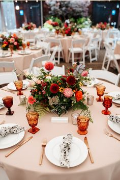 Your Mid-Century Wes Anderson Summer Camp Dreams Come True in This Robinswood House Wedding Junebug Weddings Summery wedding reception tables with orange glasses colorful flowers gold silverware Image by Vivienne Tyler Photography Wedding Reception Tables, Wedding Table Centerpieces, Centerpiece Ideas, Centerpiece Flowers, Colorful Centerpieces, Reception Games, Wedding Table Linens, Wedding Napkins, Wedding Receptions