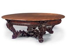 a viennese goncalo alves large centre table Nearly identical to one that Carl Leistler exhibited at the Crystal Palace. European Furniture, Antique Furniture, Miniature Crafts, Crystal Palace, Center Table, Cabinet Makers, Home Decor Furniture, Modern Contemporary, 19th Century