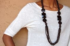 Exotic Tiki Flower Wood Bead Necklace  Long by TheLoft10Beyond, $38.00