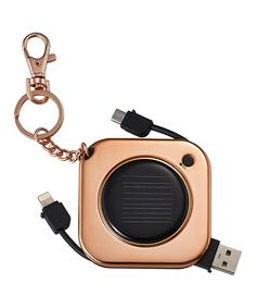 MixBin Rose Gold 1,000-mAh Key Chain Solar Charger | zulily  . $12.99 $59.99  Product Description:  Hook this rechargeable battery pack to your bags or keys and power up your handheld devices to full charge with its micro-USB and lightning connections.      2.5'' W x 2.5'' H x 0.35'' D     USB or Solar-rechargeable     Apple-certified     Battery capacity: 1,000 mAh     Input: USB     Output: lightning and micro-USB cables     Imported