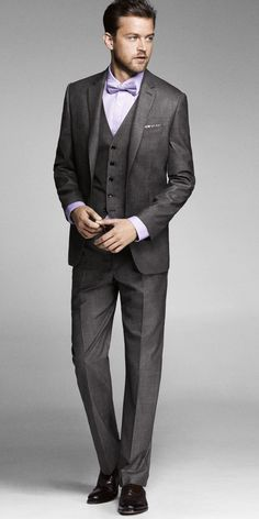 Grey Suit - classic ~ 3 piece suit with bow tie, he might like the lavender