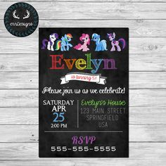 My Little Pony Party Invitation Digital File by ERRdesigns on Etsy