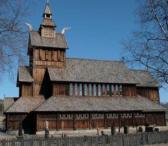 Uvdal kirke in Norway (1893)    Henrik Bull designed this church, which was inaugurated in 1893.    Bulls kirke i dragestil ligger rett over veien for Uvdal stavkirke.