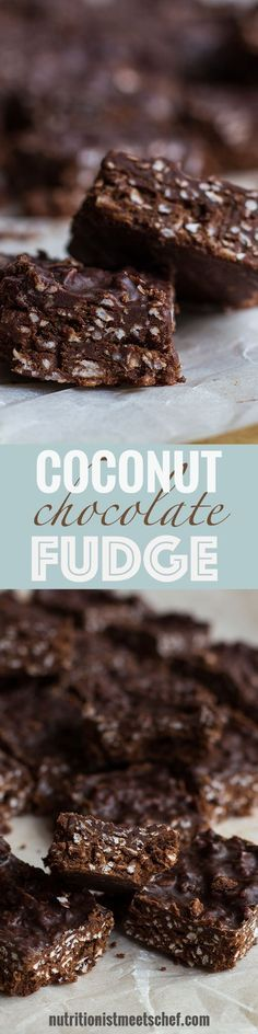 Coconut Chocolate Fudge! Gluten free, dairy free and can be made vegan! Super easy to make and will please anyone who is a lover of chocolate and coconut!