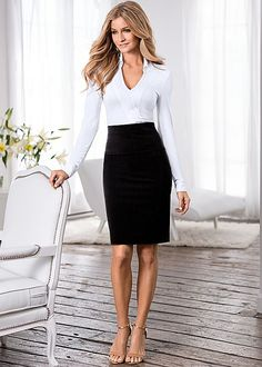 Present that new brief in style! Venus slimming pencil skirt with Venus knit shirt bodysuit.