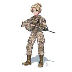 Anime Military, Military Girl, Fantasy Comics, Anime Fantasy, Comic Pictures, Manga Pictures, Cute Cartoon, Cartoon Art, Character Art