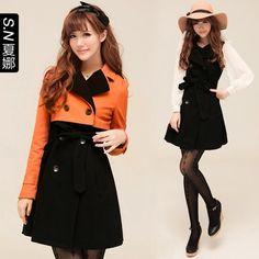 Shana 2013 new fall and winter clothes women's windbreaker jacket double-breasted Slim Korean jacket female two wear 0355  $105.48