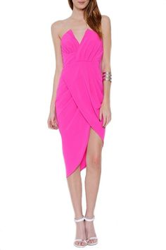 Head Over Heels Asymmetrical Dress - Hot Pink