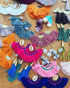 Tassel fan earrings. Multiple color choices. With or without shell and pearl dangle. 2 inches wide. Gold filled earhooks