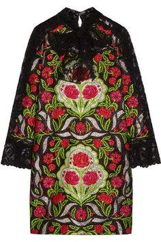Gucci - Corded Lace-paneled Metallic Floral-jacquard Mini Dress - Green - IT40