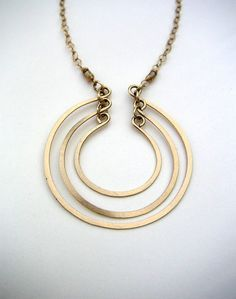 Open Circles Necklace - Hammered Wire Jewelry - Layered Open Rings Pendant  - Brushed Metal Wire Pendant - Gold FIll - Sterling  Silver