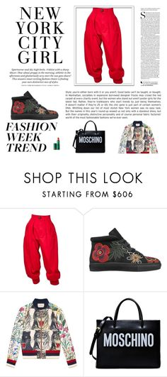 """""""NY CITY GIRL"""" by folloui on Polyvore featuring Yves Saint Laurent, Laurence Dacade, Gucci, Moschino, Lipstick Queen and H&M"""