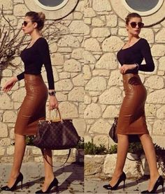 Preself Women's Fashion Sexy PU Leather Mini Bandage Pencil Skirt with High-Waist and Zipper Plus Size We would so love to wear these! Classy Outfits, Chic Outfits, Fall Outfits, Fashion Outfits, Womens Fashion, Work Fashion, Skirt Fashion, Fashion Fashion, Fashion Styles