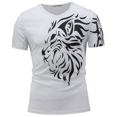 Mens Summer Lion Printed Tee Top V-neck Short Sleeve Casual T-shirt is fashion and stylish, especially suitable to wear in summer, mens t shirt is on sale on NewChic Mobile. Mode Masculine, Moda Hip Hop, Mode Club, Mens Summer T Shirts, Casual Mode, Lion Print, Bleu Marine, Casual T Shirts, Printed Tees