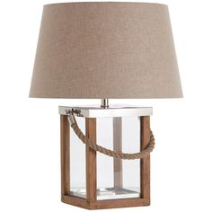 Arteriors Tate Glass/Wood/Steel/Rope Handle Lamp ($528) ❤ liked on Polyvore featuring home, lighting, square lamp, glass lantern, arteriors lamps, steel lamp and wood light