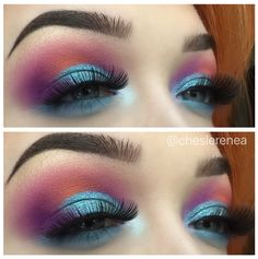 Sunset on the ocean / juvia's place / morphe35b/ morphe / sunset inspired / fenty beauty / galaxy palette / cut crease / makeup / colorful / smokey eye / look / blue / purple / orange / glitter /