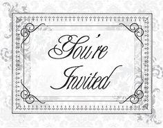 vintage postcard invitations black and white FREE printable TEMPLATE!
