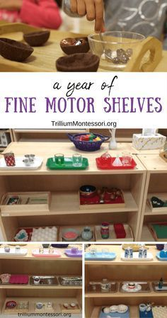 A year of preschool and Montessori fine motor shelves and activities