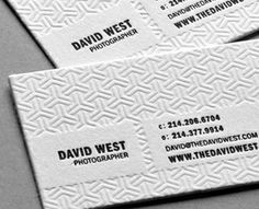 Blind emboss...David West Photography Business Card by Taste of Ink Studios (via Creattica)