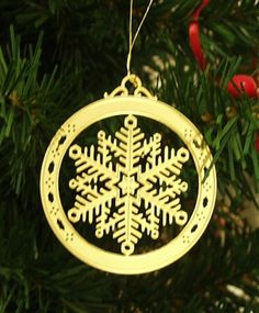 Personalized Snowflake High Polished Brass Custom Christmas Ornament #christmasornaments #personalizedchristmasornaments