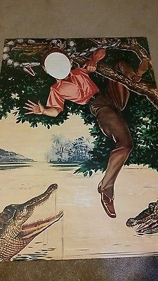 Vintage-carnival-cowboy-circus-poster-two-sided-face-cutout-lithograph-tarzan