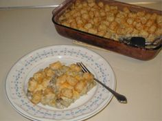 Tater Tot Casserole from Food.com: This is my son's favorite dinner. OK, I will admit....I think it's kinda good too!