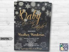 Baby Its Cold Outside Baby Shower Invitation, Winter Baby Shower, Neutral Chalkboard Gold and Silver Glitter Digital Invite, Snowflakes by GreatOwlCreations on Etsy