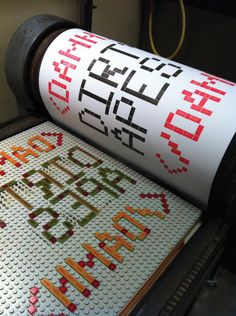 Lego Letterpress prints by Rose Newton featured in the book Ladies of Letterpress