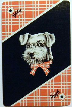 """""""Tatters"""" Terrier Dog Red Plaid Vintage Art Deco 1930s Named Swap Playing Card   eBay"""