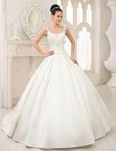 Ivory Ball Gown Jewel Neck Sequin Chapel Train Bride's Wedding Dress - Milanoo.com