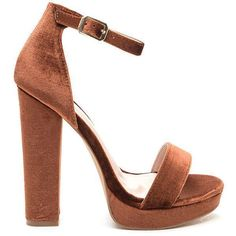 Velvet Touch Ankle Strap Platform Heels ($38) ❤ liked on Polyvore featuring shoes, sandals, brown, strappy platform sandals, brown sandals, platform sandals, chunky heel sandals and strap sandals #sandalsheelschunky #brownsandalsheels